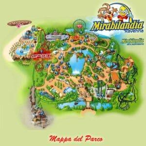 La mappa del parco divertimenti Mirabilandia di Ravenna