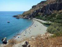 La spiaggia di Preveli con il fiume