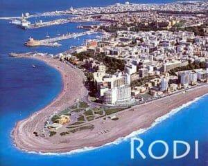 La città di Rodi con le spiagge
