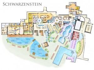 Schwarzenstein: la piantina del grande centro benessere