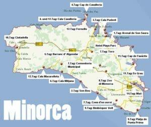 Cartina di Minorca spiagge e attrazioni