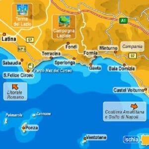 Cartina del Golfo di Gaeta e dintorni